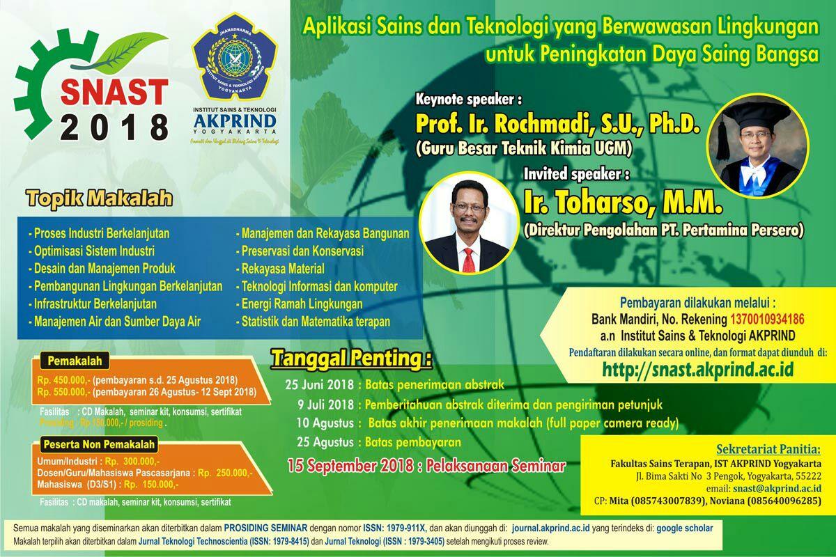 Seminar Nasional Aplikasi Sains & Teknologi 2018 (SNAST 2018)