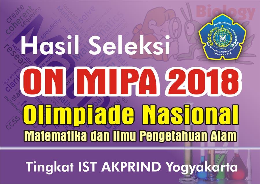 Hasil Seleksi ON MIPA-PT 2018 IST AKPRIND