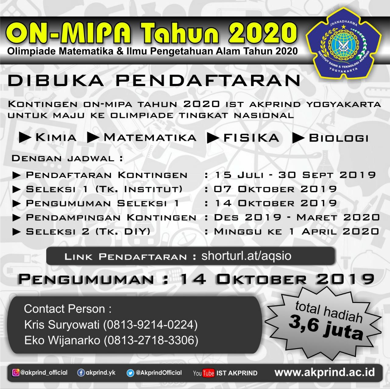 Seleksi ON-MIPA Tahun 2020