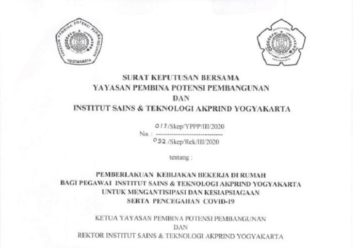 IST AKPRIND Yogyakarta Tutup Sementara 3 Kampus Hingga 30 Maret 2020