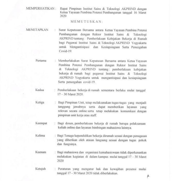OK-052-Skep-Rek-III-2020-SKB-Pemberlakukan-Kebijakan-Beketja-di-Rumah-Bagi-Pegawai-IST-AKPRIND-Untuk-Mengantisipasi-dan-kesiapsiagaan-serta-pencegahan-Covid-19-2