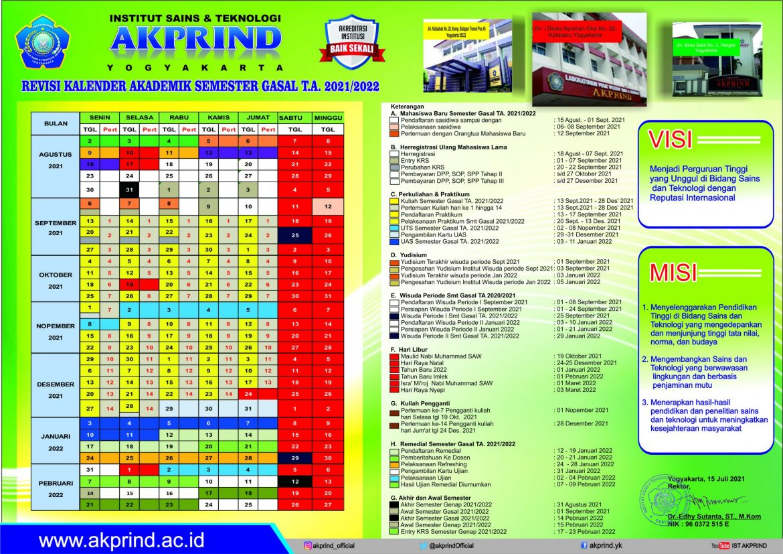 Kalender Akademik Semester Gasal T.A. 2021/2022